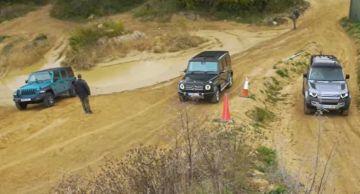 Land Rover Defender, Jeep Wrangler и Mercedes-Benz G-Class сразились на бездорожье (ВИДЕО)