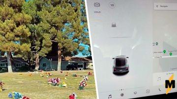 Находившаяся на кладбище Tesla Model 3 увидела привидение (ВИДЕО)