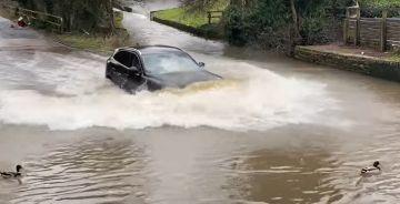 В Британии водитель Jaguar «нырнул» в огромную лужу с утками (ВИДЕО)
