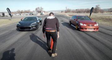 Новый Chevy Corvette C8 Drag Race обгоняет дрифт-кар Lexus GS мощностью в 600 лошадиных сил (ВИДЕО)